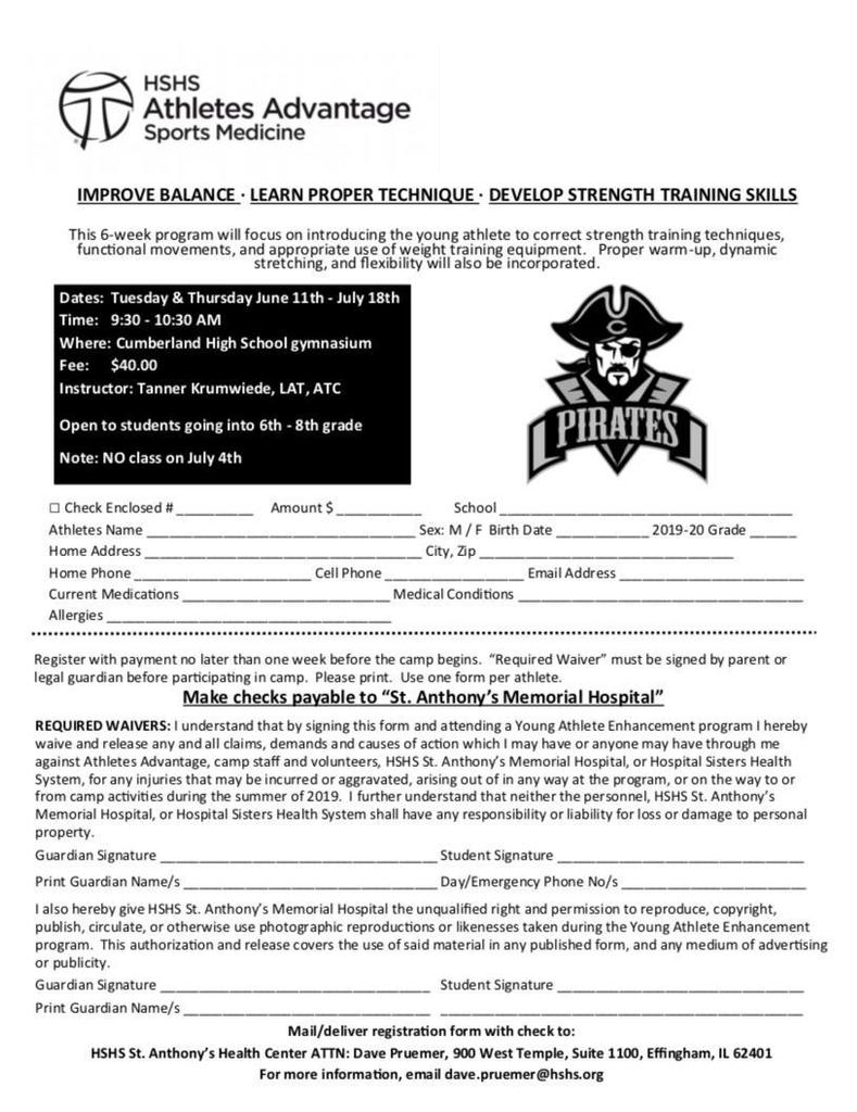 Athlete clinic for 6th-8th grades