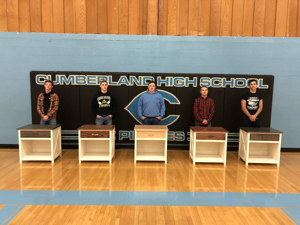 TV stands that students built