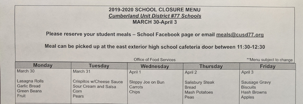 Menu March 30-April 3