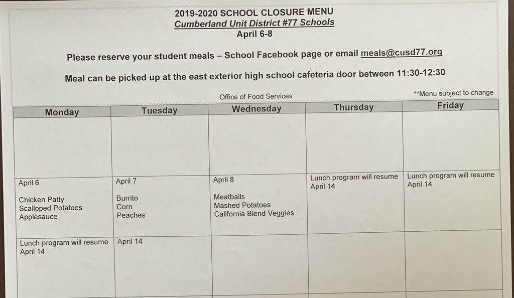 Lunch Menu April 6, 7 and 8